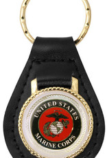United States Marine Corps with EGA Emblem on Leather Key Fob