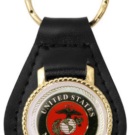 Mitchell Proffitt United States Marine Corps with EGA Emblem on Leather Key Fob