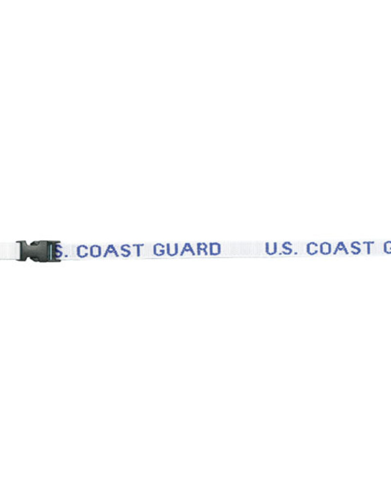 U.S. Coast Guard DEMB in Blue Thread on Removable Clasp White Lanyard