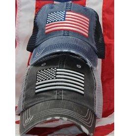 US Flag Mesh Baseball Cap Blue