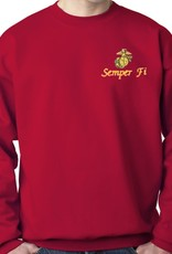 USMC Sweatshirt w/Logo Red Medium