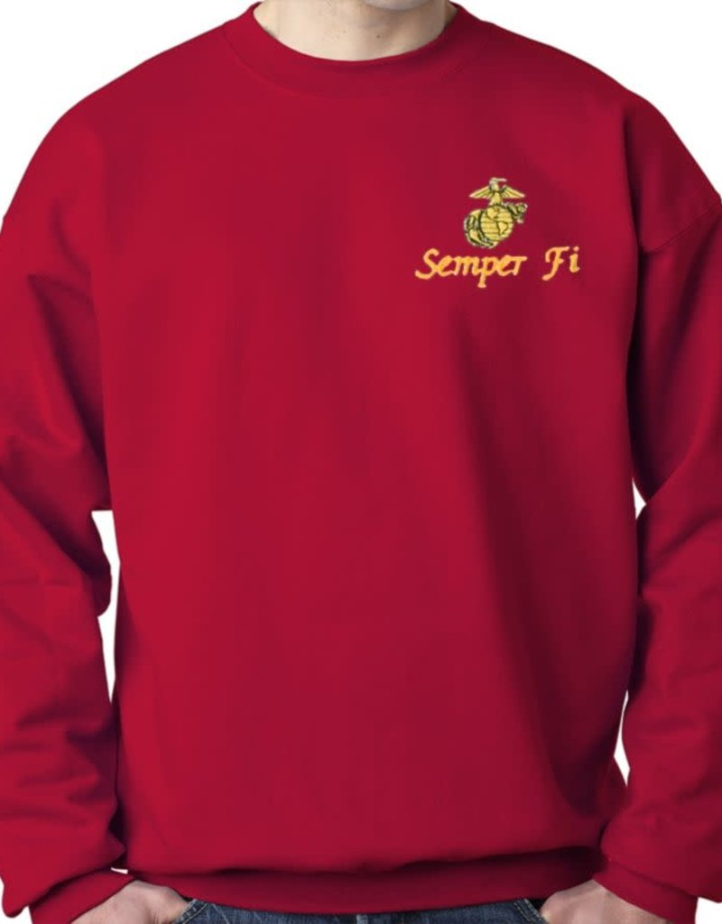 USMC Sweatshirt w/Logo Red Large