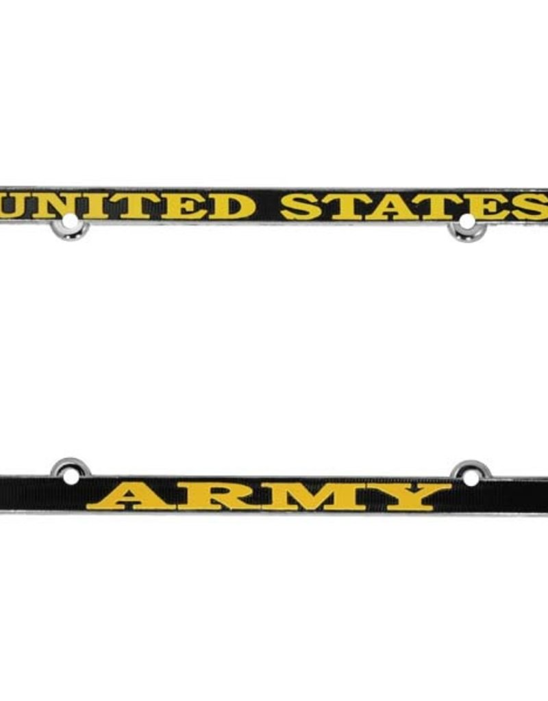 United States Army (Gold on Blk) Thin Rim Chrome Lincense Plate Frame