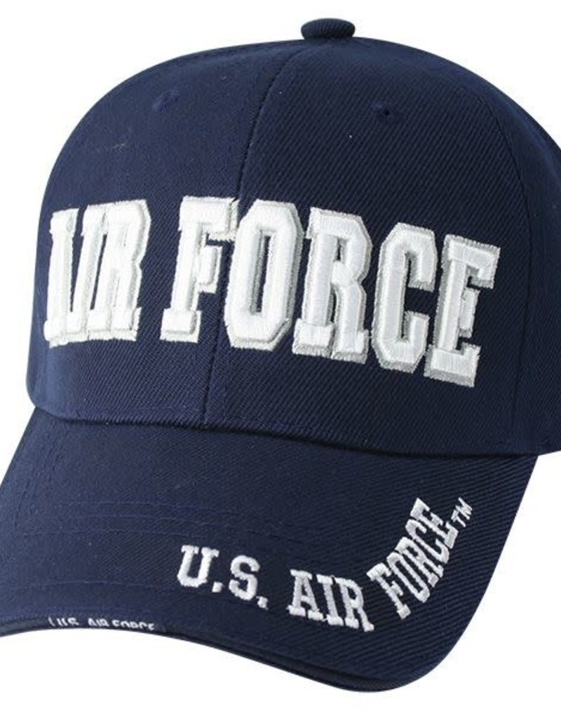 Air Force Ball Cap- Navy Blue, Writing on Lid