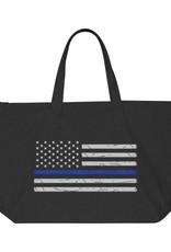 Thin Blue Line USA Thin Blue Line Distressed Tote- Black