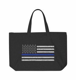 Thin Blue Line Distressed Tote- Black