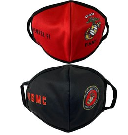 USMC Red and Black 2 Pack Face Masks