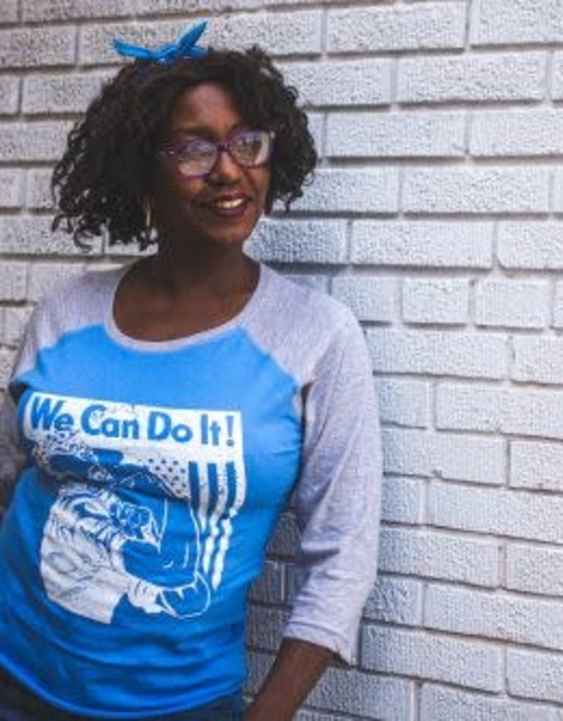 Imprintable Solutions We Can Do It! Rosie Baseball Tee Powder Blue/Gray