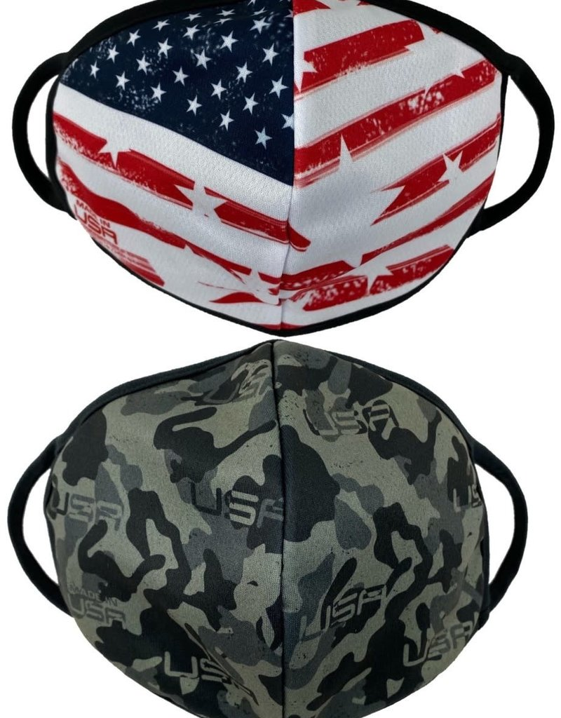 Camo and Flag 2 Pack Face Masks