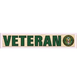 "Mitchell Proffitt VETERAN with U.S. Army Crest 15.5""x2.5"" Wood Sign"