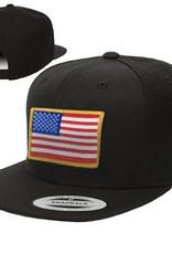 Thin Blue Line USA American Flag Baseball Cap, Black Snapback