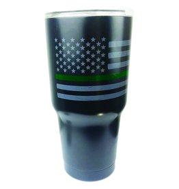 Thin Blue Line USA Thin Green Line Distressed American Flag Insulated Mug, 30 oz