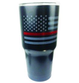 Thin Blue Line USA Thin Red Line Distressed American Flag Insulated Mug, 30 oz