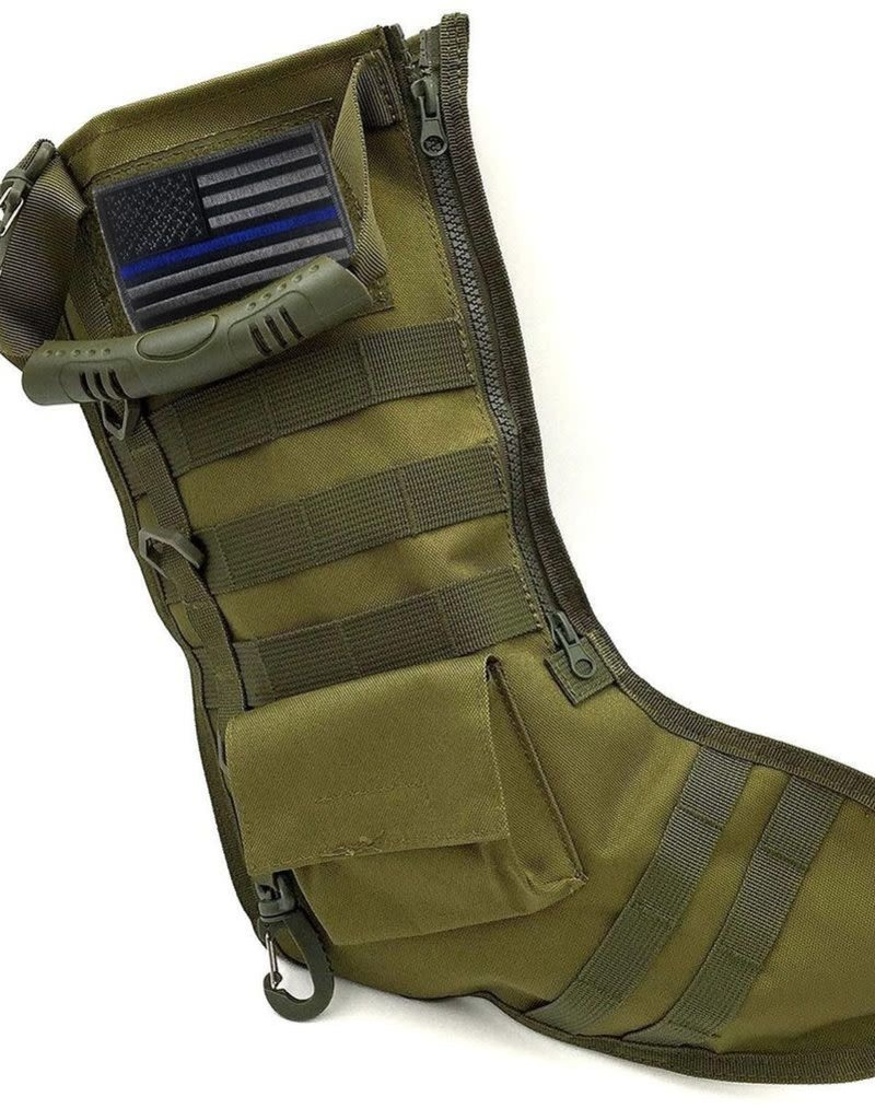 Thin Blue Line USA Thin Line Christmas Tactical Stocking, Interchangeable Patch, O/D Green