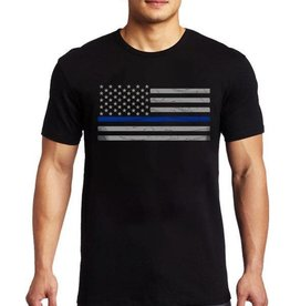 Thin Blue Line USA Thin Blue Line American Flag Classic T-Shirt Black 3XL