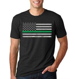 Thin Blue Line USA Thin Green Line American Flag Classic T-Shirt Black Large