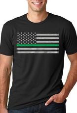Thin Blue Line USA Thin Green Line American Flag Classic T-Shirt Black Medium