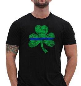 Black Thin Blue Line Shamrock One Sided T-Shirt Black 2X-Large
