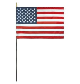 USA Mounted Stick Flag With Gold Spear Tip