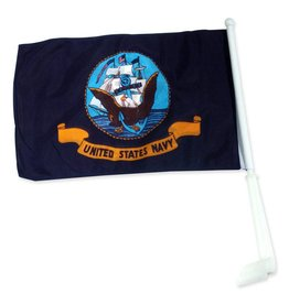 Navy Auto Window Flag