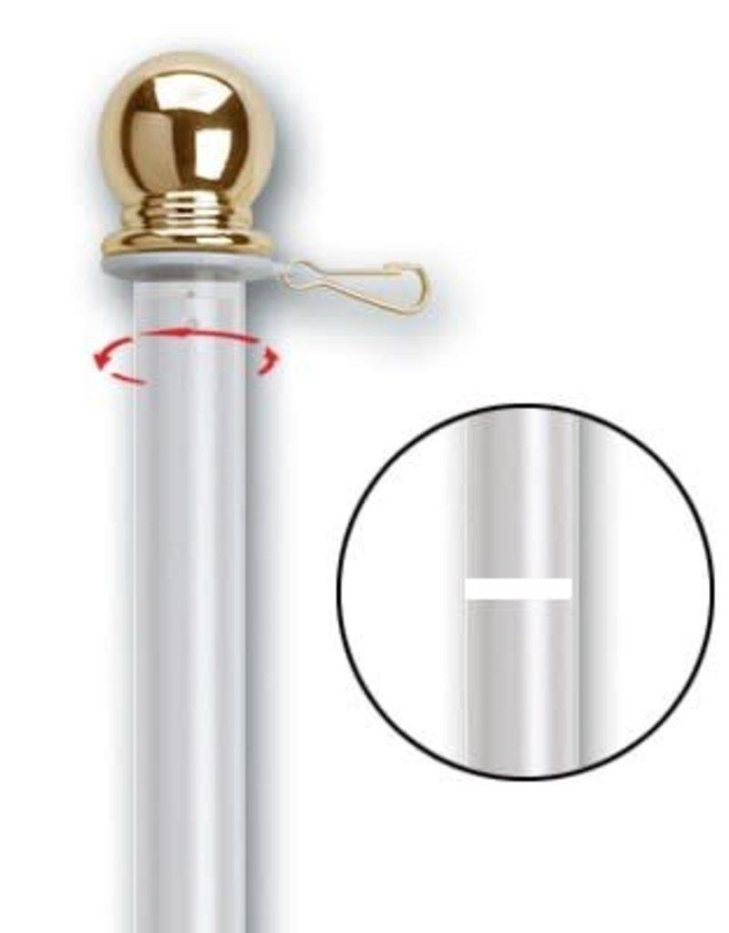 """5'x1 """" White Aluminum Spinning Flag Pole (2 PC)"""