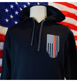 Thin Blue Line USA Thin Red Line Honor Respect Flag Hoodie