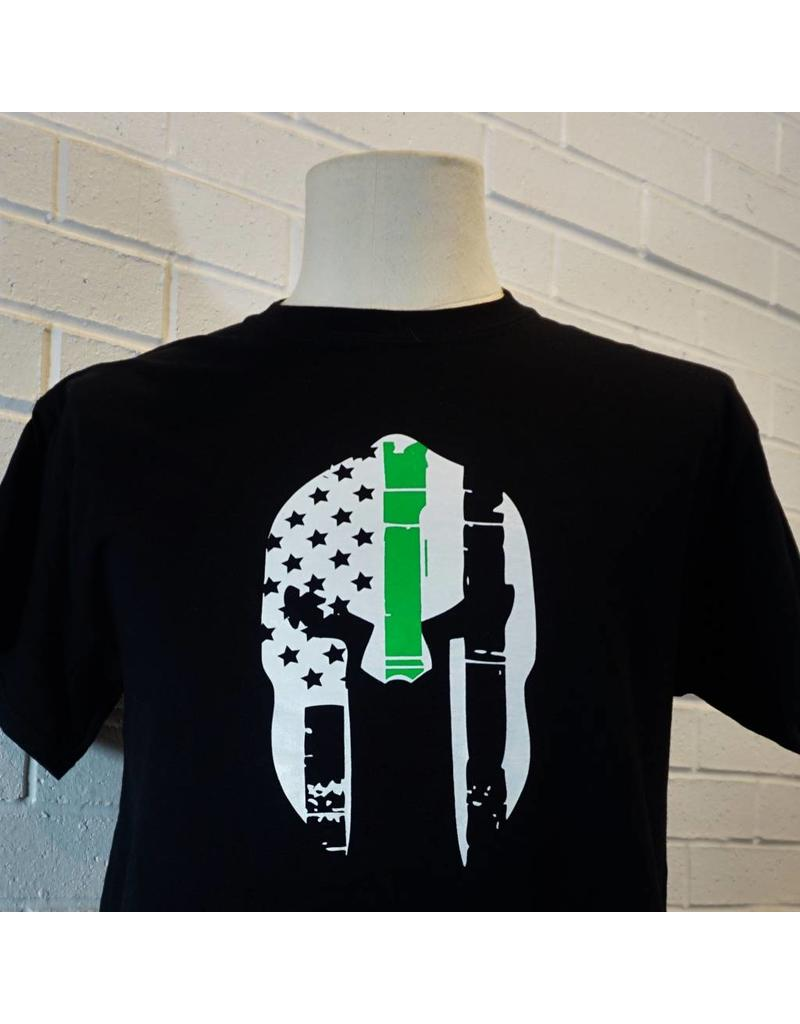 Thin Green Line One Sided Spartan Helmet T-Shirt