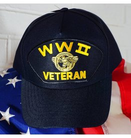 World War II Veteran (Blue w/yellow letters) Baseball Cap