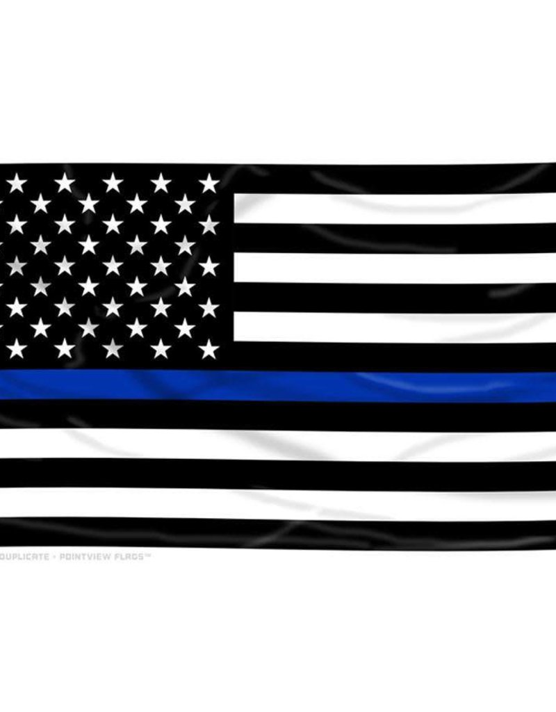 Black and White American Flag with Thin Blue Line Nylon FLag