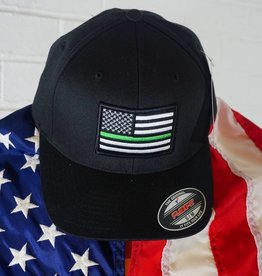 Thin Blue Line USA Thin Green Line Flexfit American Flag Hat