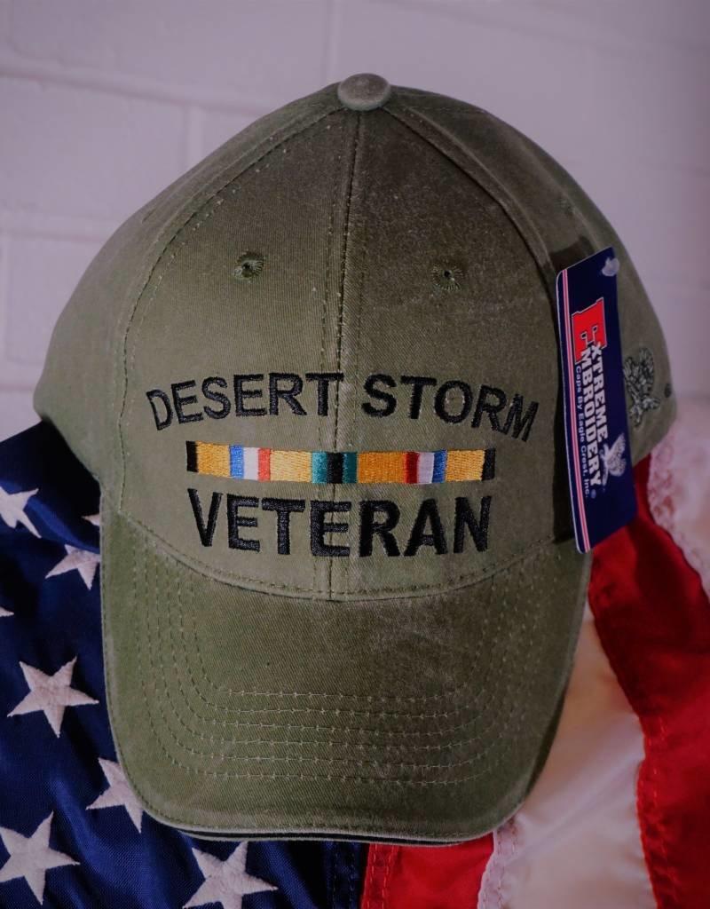 Desert Storm Veteran (w/ Ribbons) Baseball Cap (OD Green)