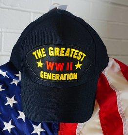 The Greatest Generation WWII (Black with yellow and gold ltrs) Baseball Cap