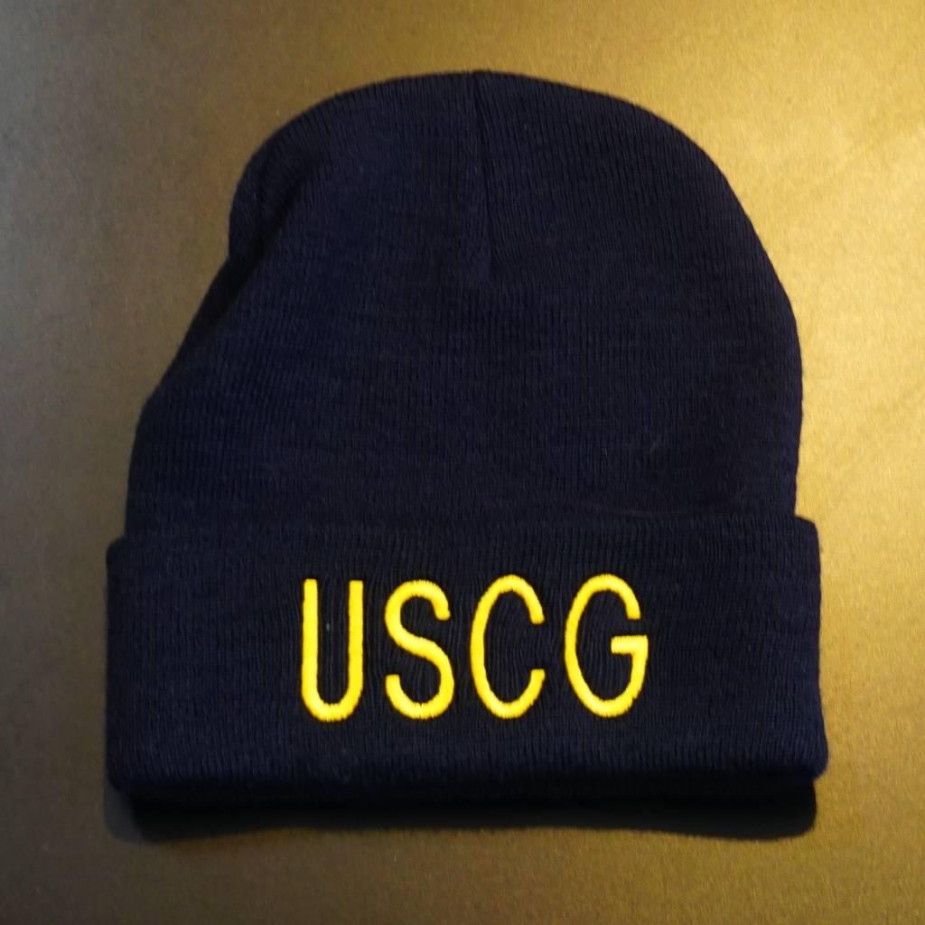 1ce7812f0de Blue w yellow letters (USCG) Coast Guard Watch Cap - Stars   Stripes ...