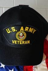 Army Veteran Emblematic Patch Baseball Cap (Black)