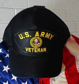 Army Veteran Emblematic Patch Baseball Cap (Black)