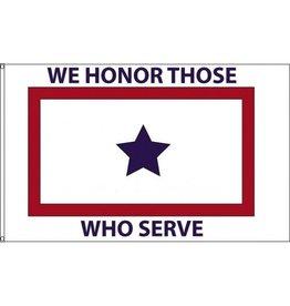 White Service Flag (We Honor Those Who Serve) 3x5' Nylon Flag