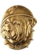 USMC Bulldog Bust Wearing Combat Helmet Lapel Pin