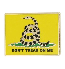 "Don't Tread On Me Coiled Snake with Yellow Background on 7/8"" Lapel Pin"