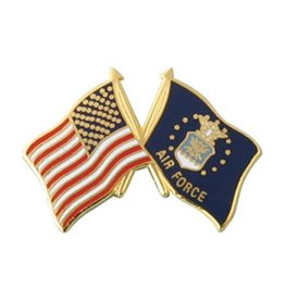 American and Air Force Crossed Flags Lapel Pin