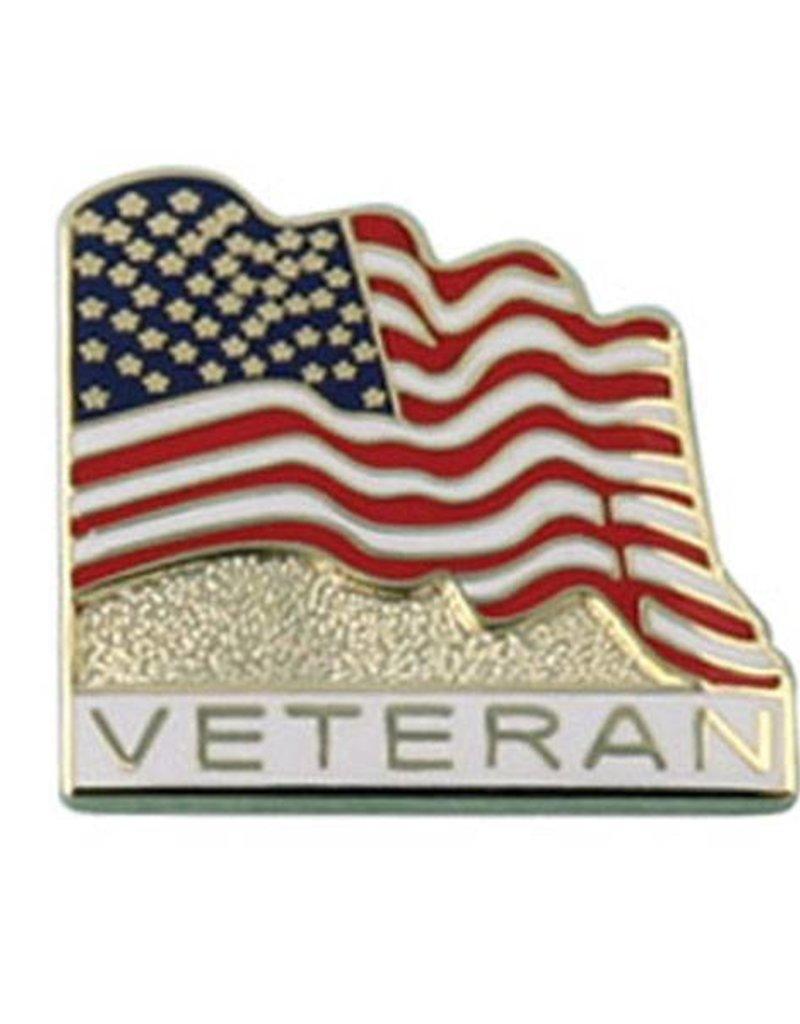 American Flag with Veteran Lapel Pin