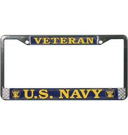 Veteran U.S. Navy  Chrome Auto License Plate Frame