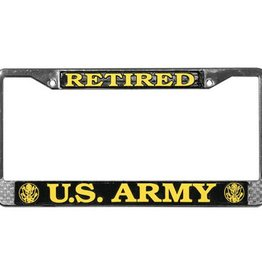 Army Retired Chrome Auto License Plate