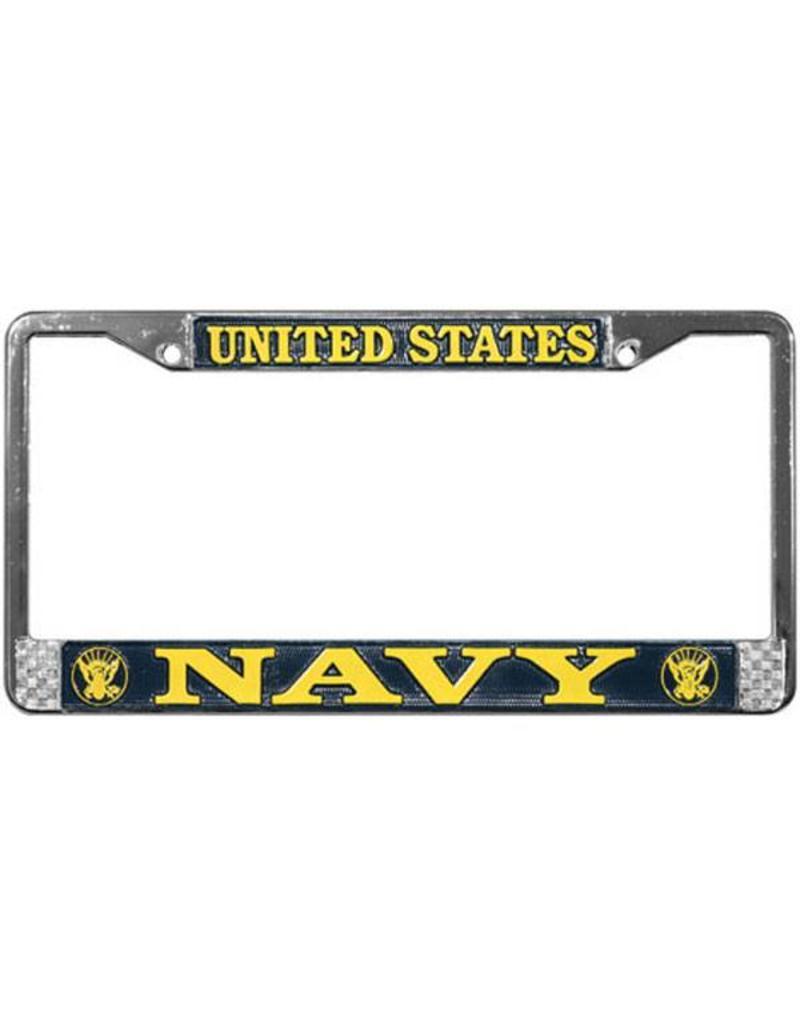 2051e4530d7c U.S. NAVY on Mirrored Inlaid Plastic License Plate Frame - Stars   Stripes