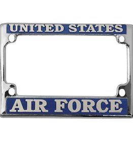 United States Air Force in Blue on Grey, Chrome Motorcycle Tag Frame