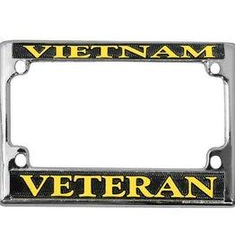 Vietnam Veteran in Gold on Black, Chrome Motorcycle Tag Frame