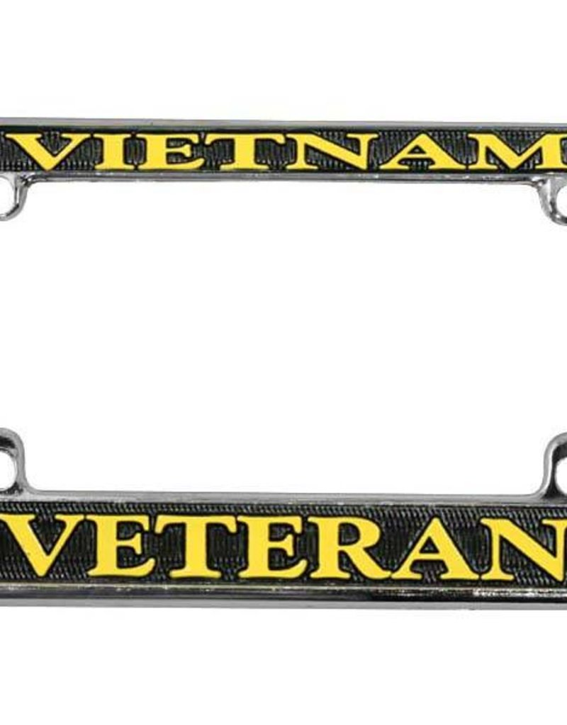 Vietnam Veteran in Gold on Black, Chrome Motorcycle Tag Frame