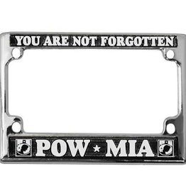 POW * MIA You Are Not Forgotten in White on Black Chrome Motorcycle Tag Frame