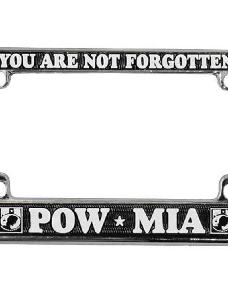 POW * MIA You Are Not Forgotten in White on Black Chrome Motorcycle Tag Frame