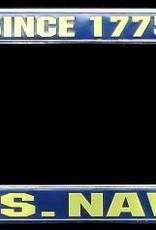 Navy 1775 Chrome Auto License Plate Frame