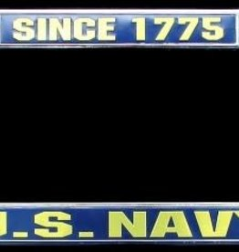Navy 1775 Chrome Auto License Plate Frame